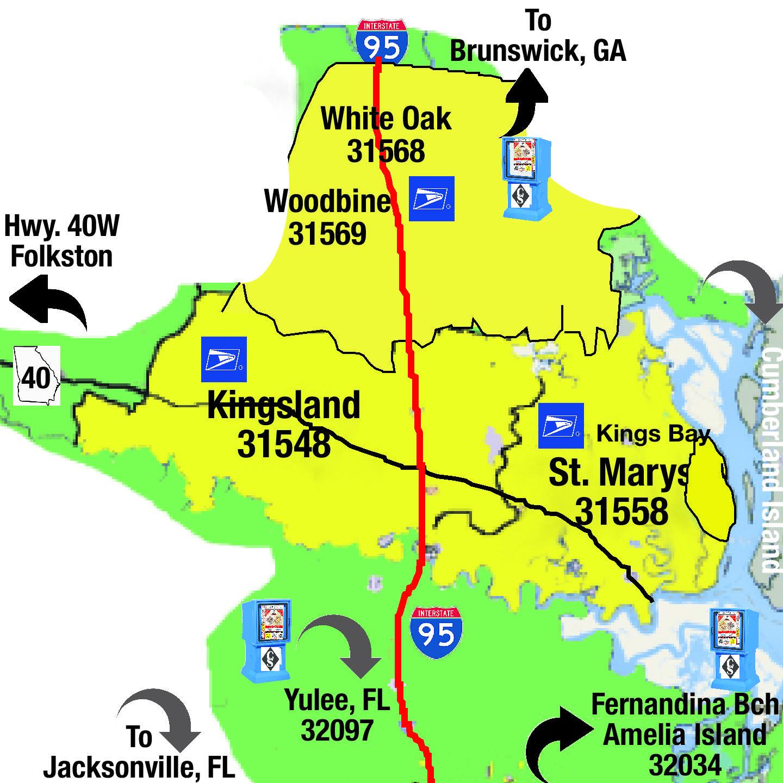 Map Of Kingsland Georgia.Coastal Shopper News Coastal Kings Bay St Marys Kingsland
